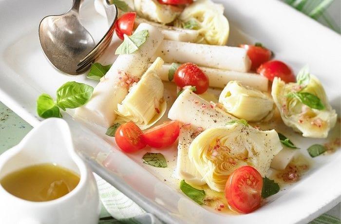 Salade de cœurs de palmiers et artichauts